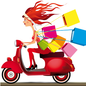 Girl riding a motorcycle carrying shopping bags